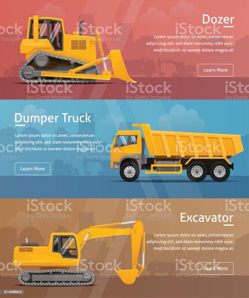 Dumper, Excavator, Dozer. Web Banners. Highly detailed vector illustration. vector art illustration