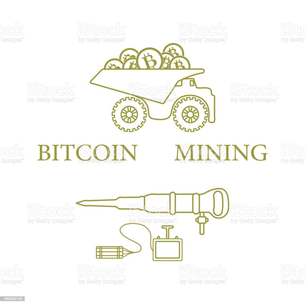 Dumper with bitcoins, dynamite and jackhammer. royalty-free dumper with bitcoins dynamite and jackhammer stock vector art & more images of bank