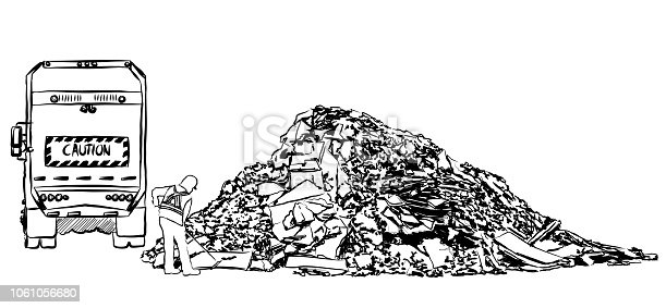 Garbage truck dumping its content at the landfill