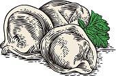 Dumplings and green parsley