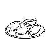 Dumplings chinese cuisine outline icon. Asian food engraved vector illustration.