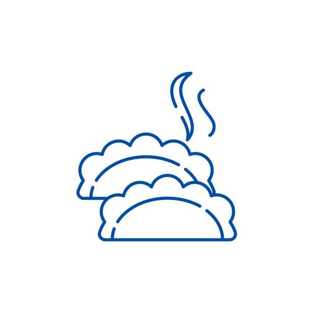 Dumplings line icon concept. Dumplings flat  vector symbol, sign, outline illustration. Dumplings line concept icon. Dumplings flat  vector website sign, outline symbol, illustration. ravioli stock illustrations