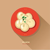 Dumplings on a plate. Pelmeni. Icon