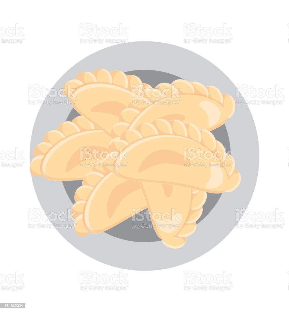 만두 한 플라테 - 로열티 프리 건강한 식생활 벡터 아트