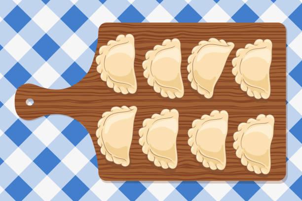 Dumplings (pierogi, varenyky, pelmeni) on a wooden cutting board on blue checkered tablecloth. Vector hand drawn illustration. Dumplings (pierogi, varenyky, pelmeni, ravioli) on a wooden cutting board on blue checkered tablecloth. Polish cuisine. Eastern european cuisine. Vector hand drawn illustration. ravioli stock illustrations