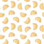 Dumplings (pierogi, varenyky, pelmeni) seamless pattern. Vector hand drawn illustration.