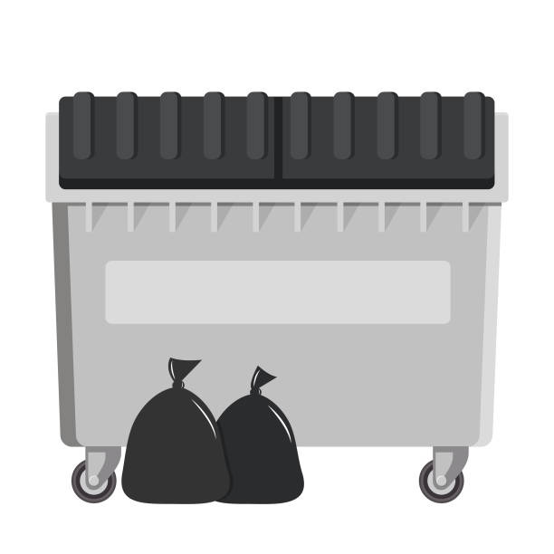 dumpster flat design isolated on white background vector art illustration