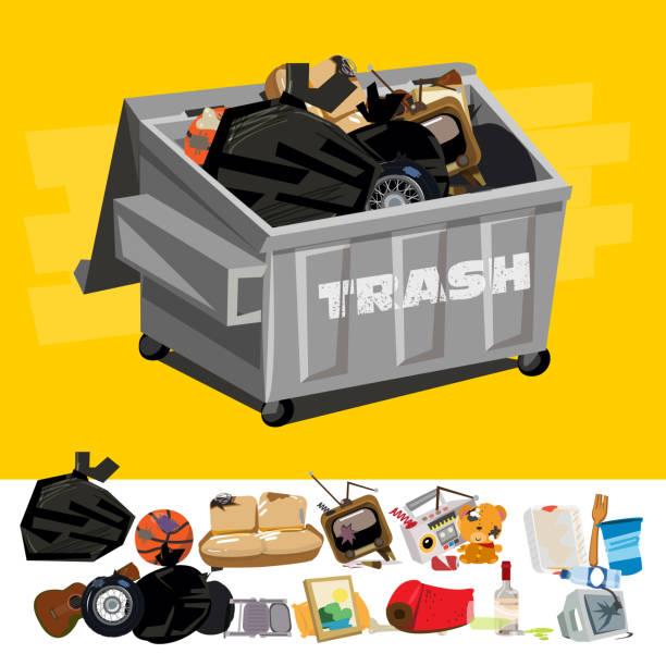 stockillustraties, clipart, cartoons en iconen met dumpster gevuld met bagger, met de graven van de prullenbak - vector - container
