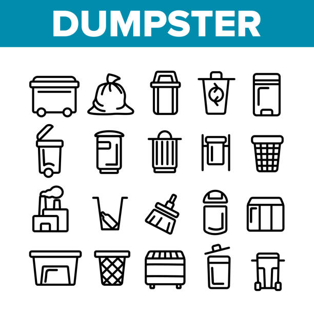 Dumpster, Garbage Container Thin Line Icons Set Dumpster, Garbage Container Thin Line Icons Set. Dumpster, Trash Collecting Equipment Linear Illustrations. Litter Recycling Factory. Plastic Dustbins, Metal Containers. Baskets for Waste Separating plastic pollution stock illustrations