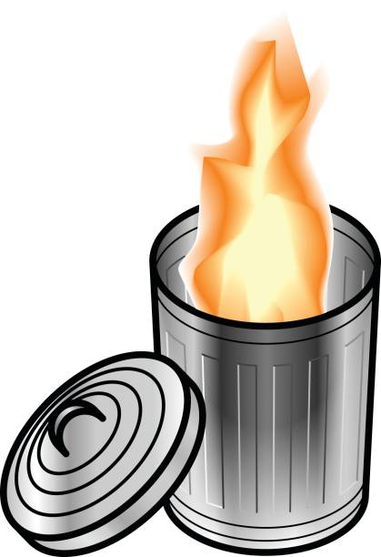 Dumpster/trash fire concept Fire in steel trash/rubbish can/bin with lid opened on the side. dumpster fire stock illustrations