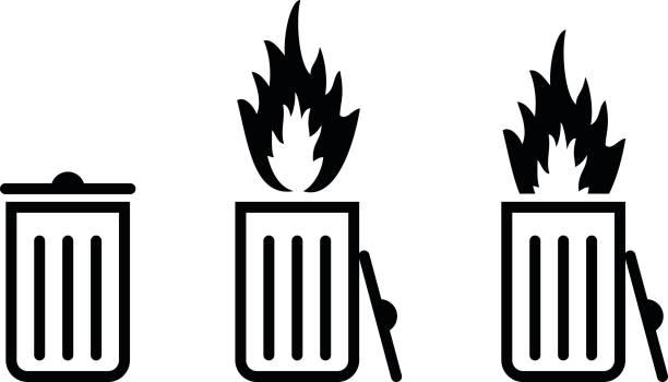 концепция мусорного контейнера/мусора - dumpster fire stock illustrations