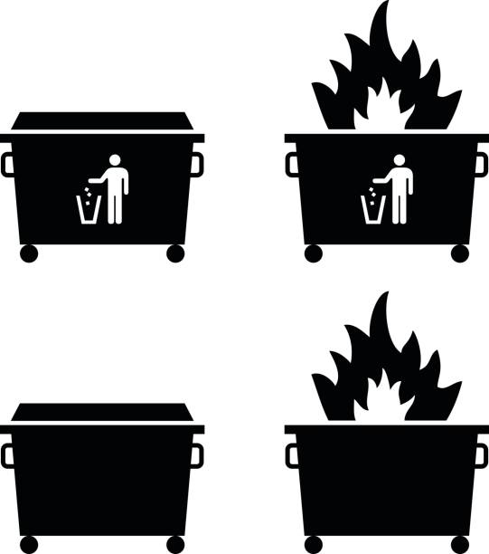 Dumpster/trash fire concept Trash/rubbish dumpster icons with fire. Dumpster fire concept. dumpster fire stock illustrations