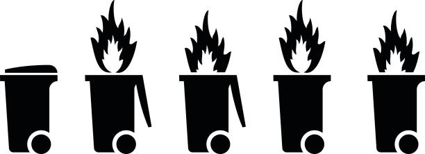 Dumpster/trash fire concept Trash/rubbish wheelie bin icons with fire. Dumpster fire concept. dumpster fire stock illustrations