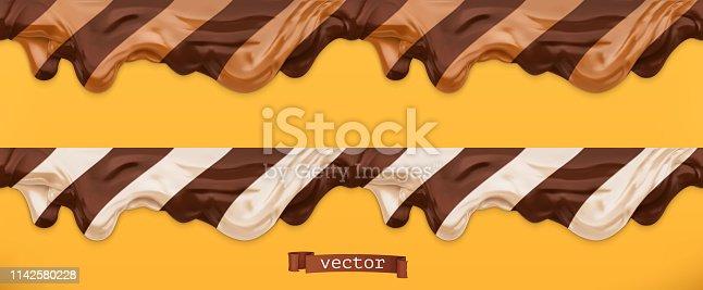 istock Duo chocolate spread. Caramel flows. Peanut butter. Seamless pattern 3d vector 1142580228