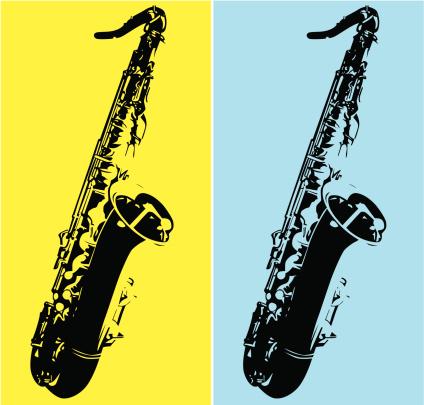Duo tone art with a tenor saxophone
