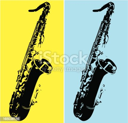 istock Duo tone art with a tenor saxophone 165038156
