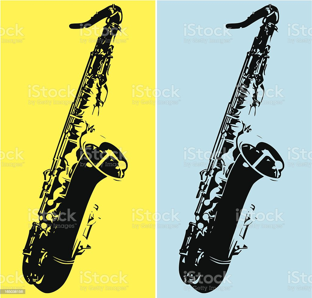 Duo tone art with a tenor saxophone vector art illustration