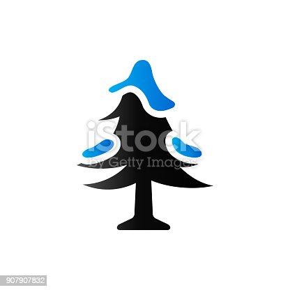 istock Duo Tone Icon - Christmas tree 907907832