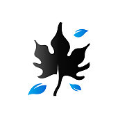 Duo Tone Icon - Maple leaves