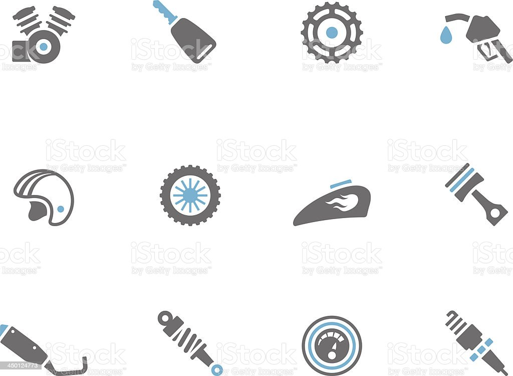 Duo Tone Icons - Motorcycle Parts royalty-free stock vector art
