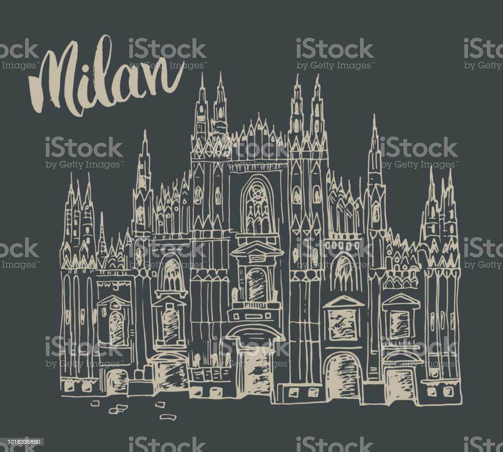 Duomo cathedral in Milan, Italy. Hand drawn sketch of Italian famous church building with lettering Milan, vector illustration.