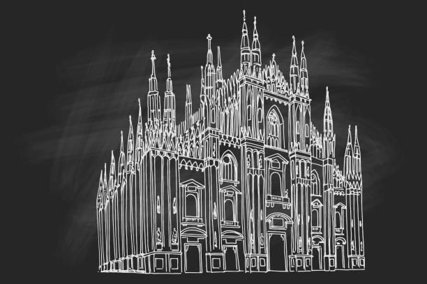 illustrazioni stock, clip art, cartoni animati e icone di tendenza di duomo cathedral in milan. vector sketch. - milan