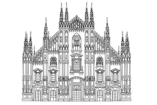 Duomo cathedral in Milan. Vector sketch.