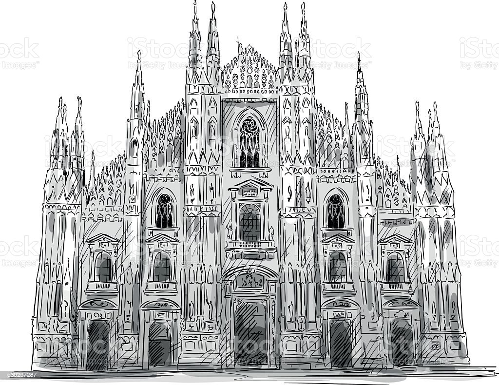 Duomo di Milano. Milan cathedral. Vector sketch. vector art illustration