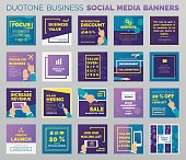 Duotone business social media banners