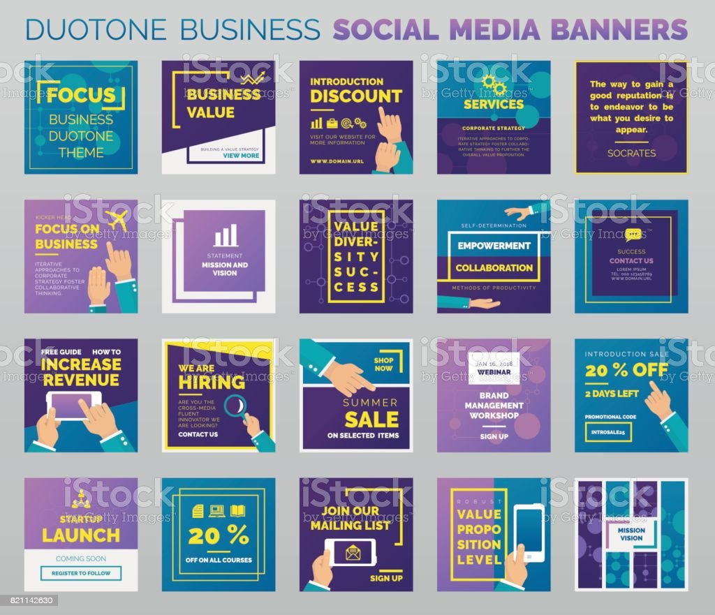 Duotone business social media banners vector art illustration