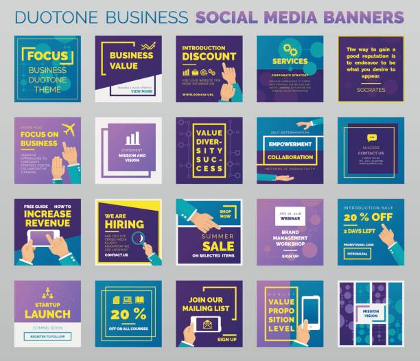 duotone business social media banners - website templates stock illustrations