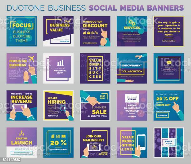 Duotone styled social media banners and post templates. Outlined vector design, easy to edit. EPS v.10 file.