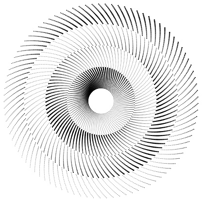 Duotone high contrast wheel of dotted lines, angular size gradient. Arithmetic orbits (equal width) each with a phase shift