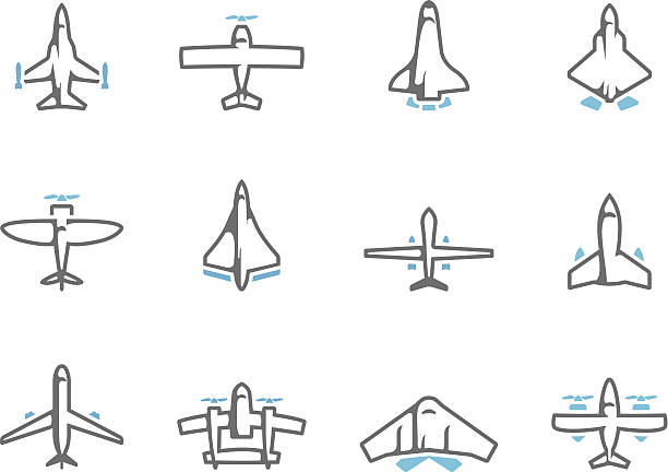 Duotone Icons - Airplanes Airplane silhouette icons in duo tone colors. EPS 10. AI, PDF & transparent PNG of each icon included. supersonic airplane stock illustrations