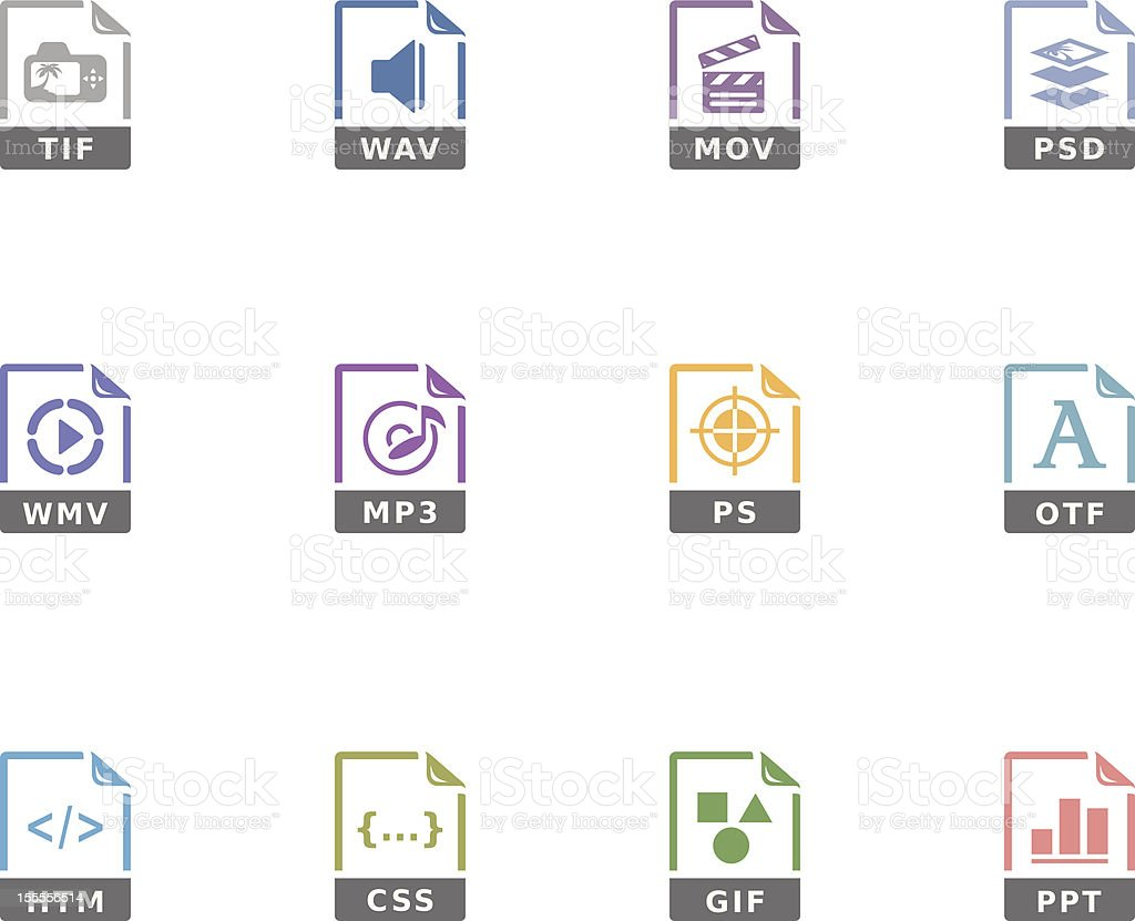 Duotone Icons - File Formats 13 vector art illustration