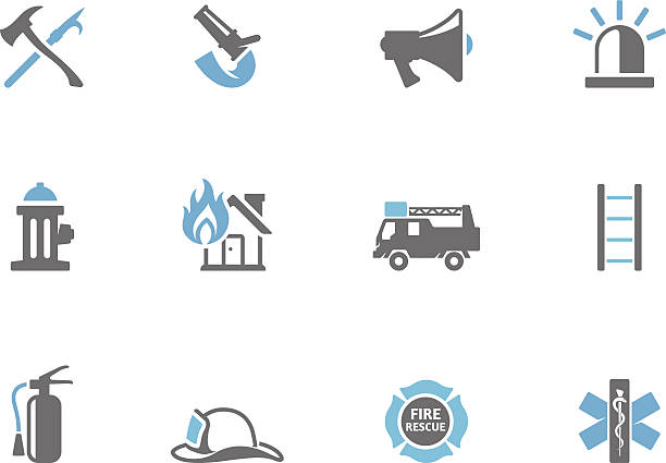 Duotone Icons - Fire Fighter Fire fighter icons in duo tone colors. EPS 10. AI, PDF & transparent PNG of each icon included. maltese cross stock illustrations