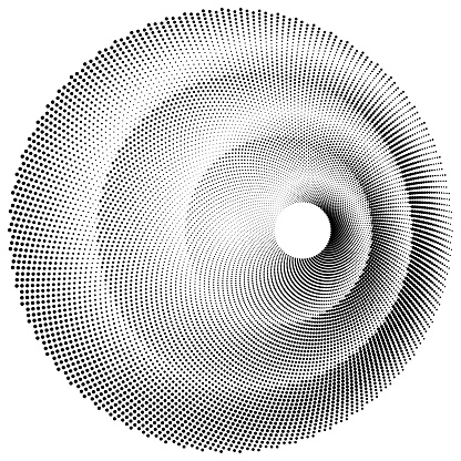 Duotone pattern of dots in a circle.
