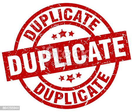 Duplicate Round Red Grunge Stamp Stock Vector Art & More Images of Badge 864255944