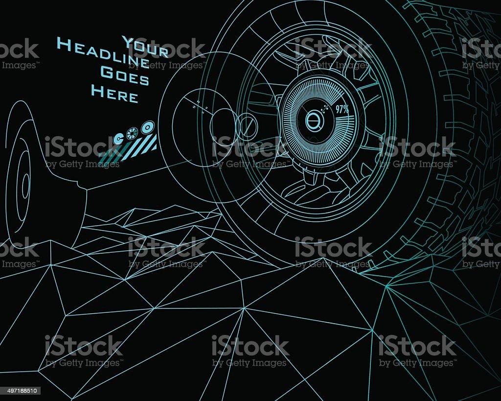 Modèle de conception des pneumatiques durabilité haut débit avec effet Tron - Illustration vectorielle