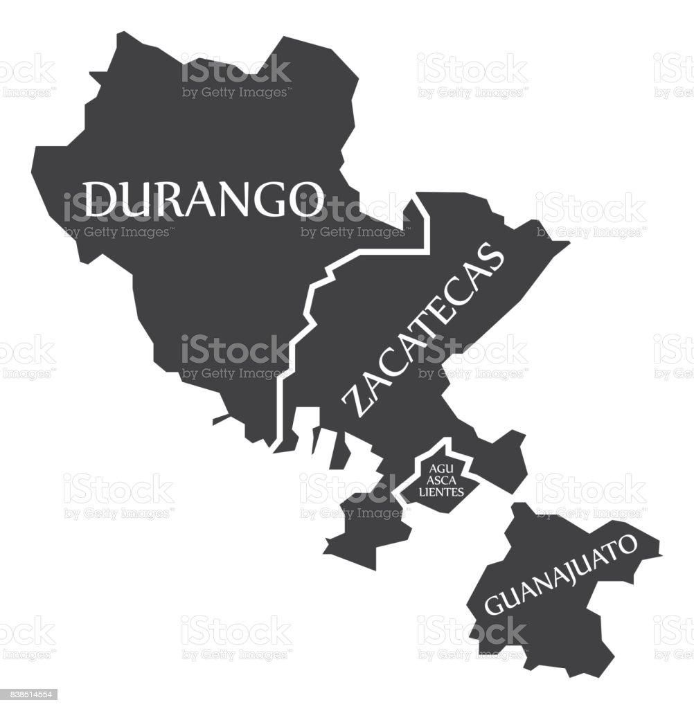 Durango Zacatecas Aguascalientes Guanajuato Map Mexico Illustration