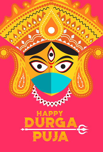 Durga Puja design with protective mask