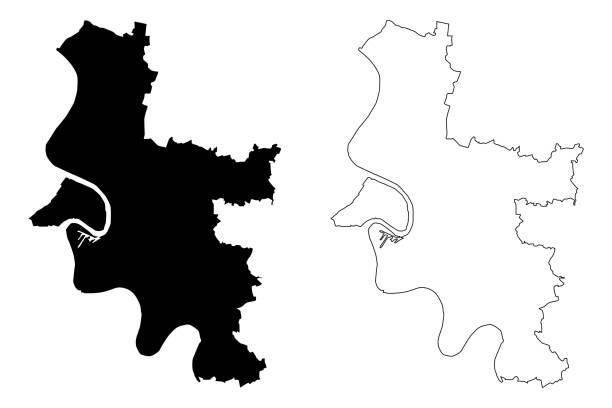 stadtplan düsseldorf - düsseldorf stock-grafiken, -clipart, -cartoons und -symbole