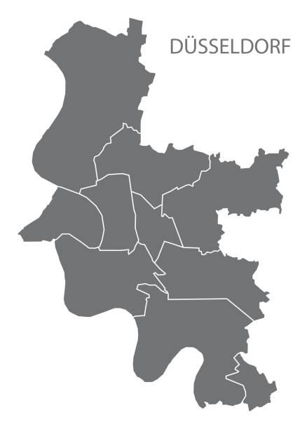 düsseldorf-stadtplan mit bezirken grau abbildung silhouette form - düsseldorf stock-grafiken, -clipart, -cartoons und -symbole