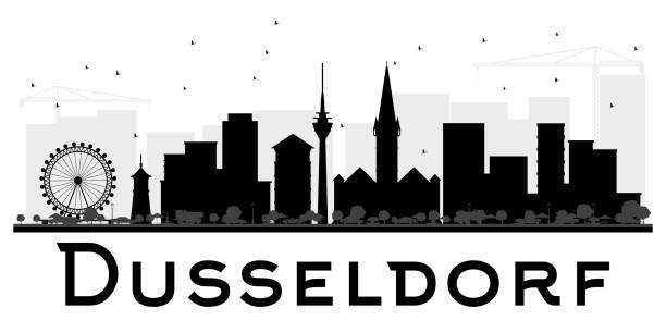 düsseldorf skyline schwarz-weiß stadtsilhouette. - düsseldorf stock-grafiken, -clipart, -cartoons und -symbole