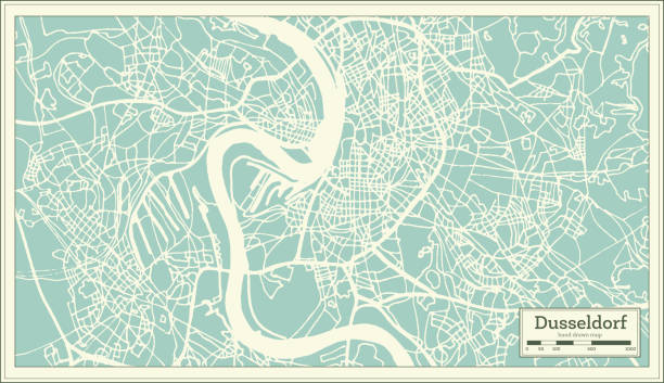 düsseldorf deutschland stadtplan im retro-stil. der umriß. - düsseldorf stock-grafiken, -clipart, -cartoons und -symbole