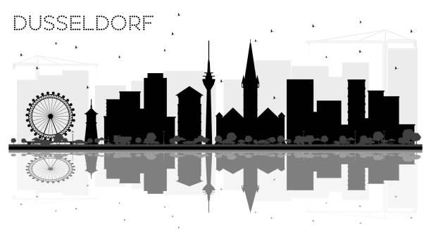 düsseldorf deutschland skyline schwarz-weiß stadtsilhouette mit reflexionen. - düsseldorf stock-grafiken, -clipart, -cartoons und -symbole