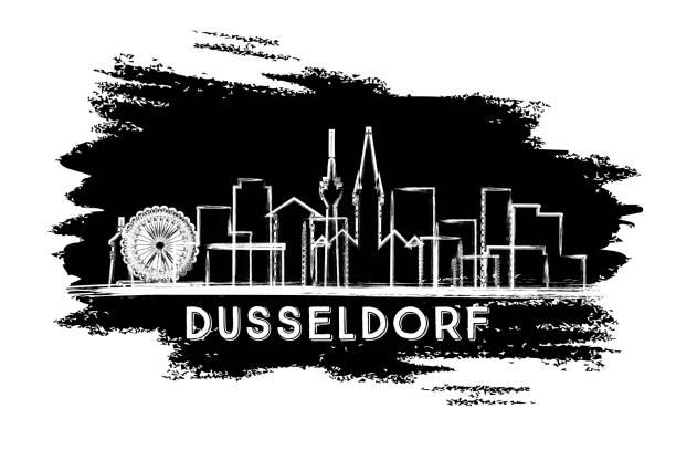 düsseldorf deutschland stadt skyline silhouette. hand gezeichnet skizze. - düsseldorf stock-grafiken, -clipart, -cartoons und -symbole