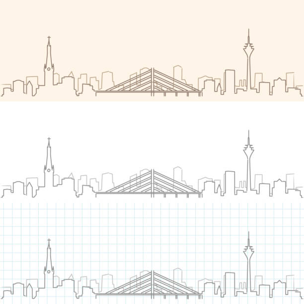 düsseldorf hand zieht skyline - düsseldorf stock-grafiken, -clipart, -cartoons und -symbole
