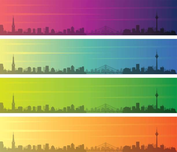 düsseldorf multiple color gradient skyline banner - düsseldorf stock-grafiken, -clipart, -cartoons und -symbole