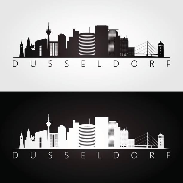 düsseldorf skyline und wahrzeichen silhouette, schwarz / weiß design, vektor-illustration. - düsseldorf stock-grafiken, -clipart, -cartoons und -symbole